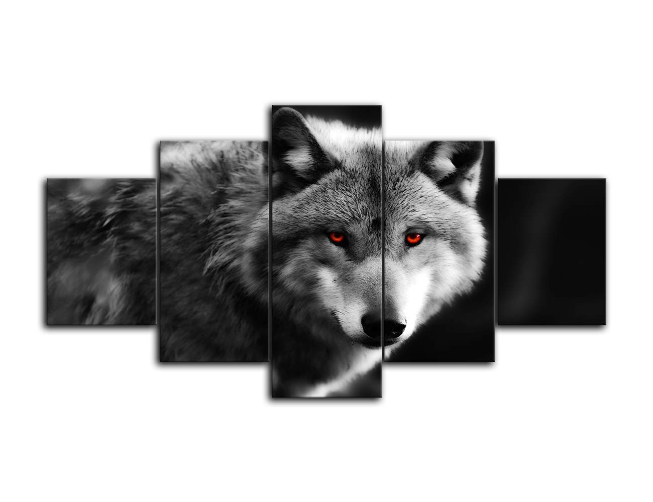 Canvas Wall Art Black And White Red Eye Wolf Poster Animal Face Head Series 5 Pieces Abstract Picture Painting Home Decor Wall Art Stretched And