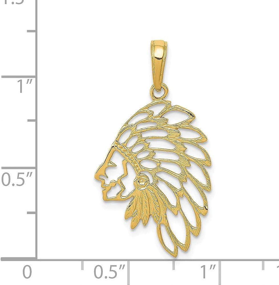 14k Yellow Gold Cut-out Head Dress Pendant