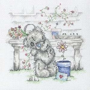 Anchor Me to You - Mini plantilla de punto de cruz, diseño de oso con flor