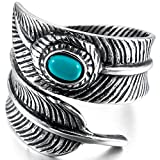 INBLUE Men's Stainless Steel Ring Synthetic Turquoise Silver Tone Black Feather