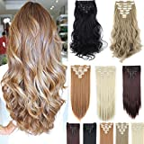 8Pcs 18 Clips 17-26 Inch Curly Straight Full Head Clip in on Hair Extensions Women Lady Hairpiece, double Weft-dark Black#1, 23 Inch-Straight offers