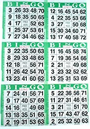 SmallToys 6 on Green Bingo Paper Game Cards - 500 Sheets - 8 Inch by 12 Inch Size Disposable Sheet - Made in U