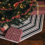 Jubilee Creative Studio 48 inch Dark Charcoal Gray Stripe Cotton Farmhouse Christmas Tree Rug Skirt by