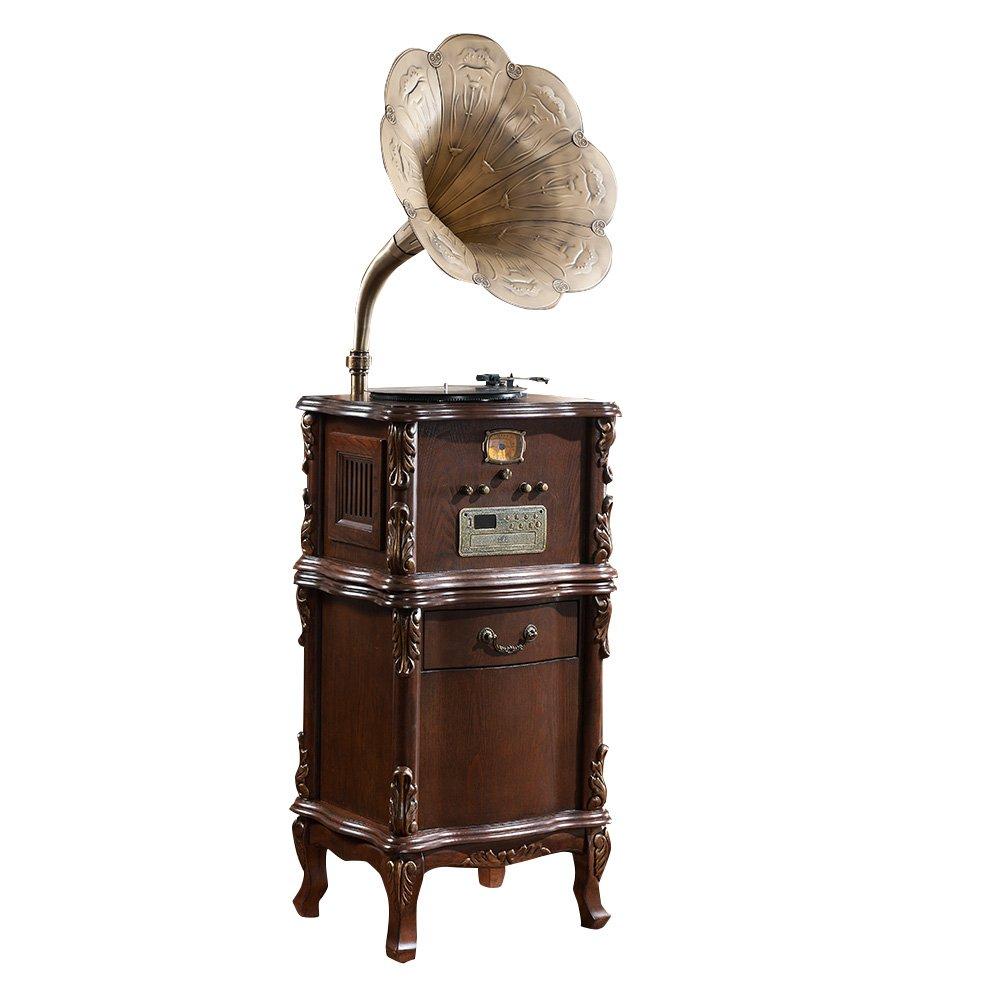 Sitang Cosecha de madera de disco de gramófono de la máquina tocadiscos de vinilo jugador gramófono cuerno grande de la vendimia MLG668C