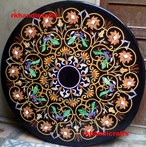 rkhandicrafts 48'' Round Black Marble Dining Table Top Luxury Floral Design Inlay Multi Color Stones