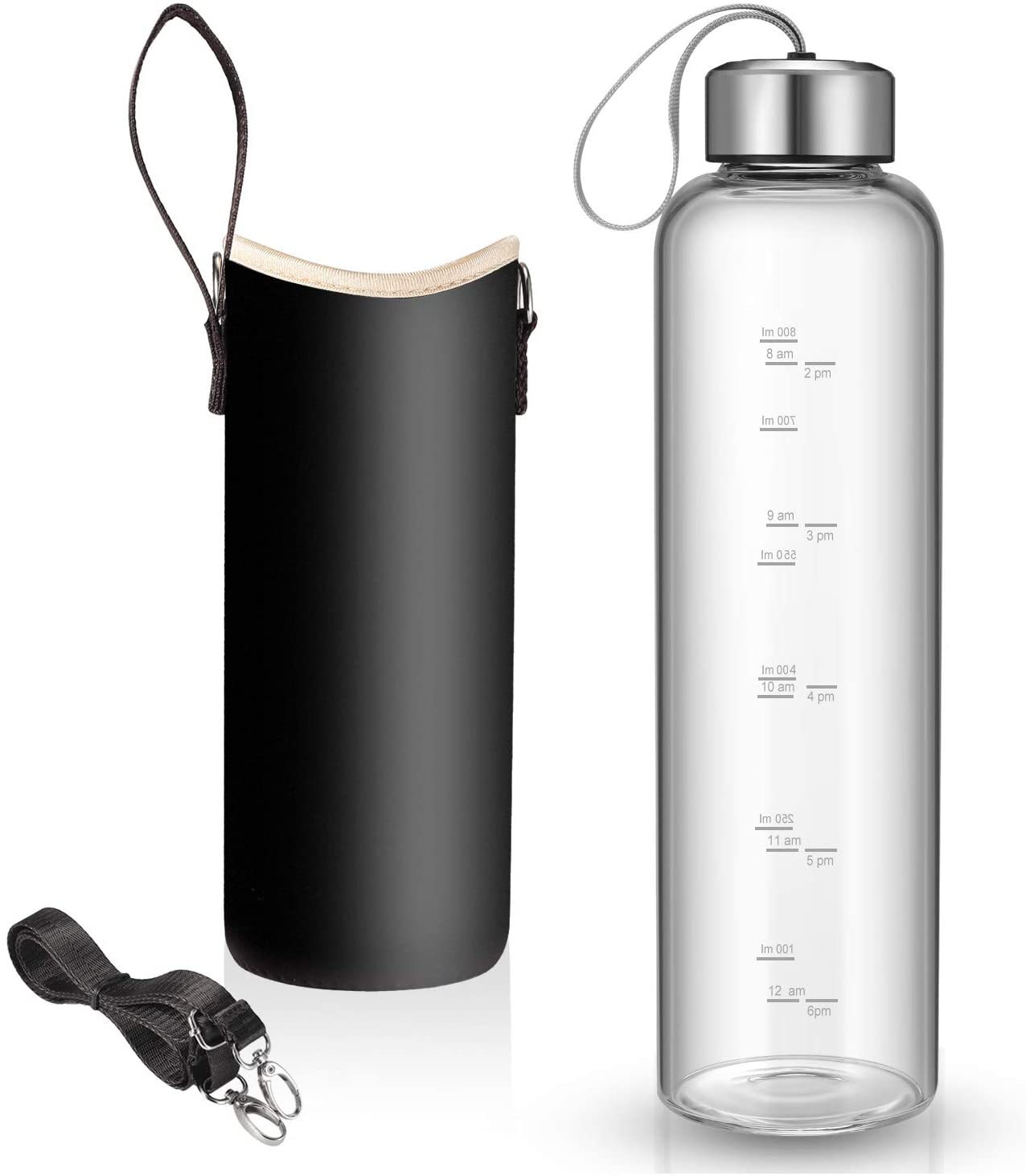 32 oz Glass Water Bottle with Nylon Bottle Protection Sleeves and Stainless Steel Lid 1L Time Marked Measurements Reusable Eco Friendly Safe for Hot Liquids Tea Coffee Daily
