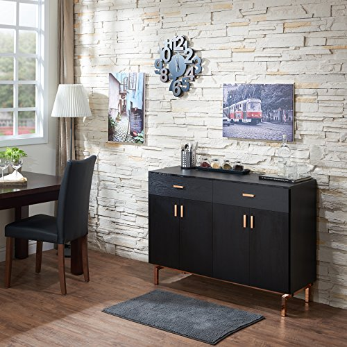ModHaus Living Contemporary Wood Sideboard Buffet Table with Metal Legs Wine Holder 2 Drawers and 2 Cabinets – Includes Pen (Black/Rose Gold) Review