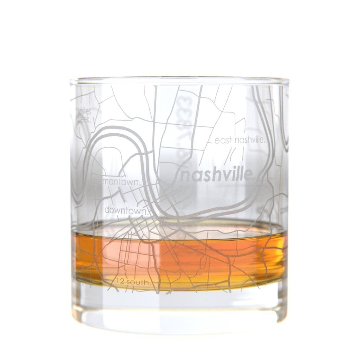 Amazon.com: Uncommon Green Nashville Map Rocks Glass Etched Whiskey ...