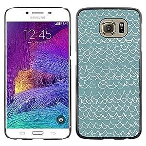 FECELL CITY // Duro Aluminio Pegatina PC Caso decorativo Funda Carcasa de Protección para Samsung Galaxy S6 SM-G920 // Waves Pattern Art Blue White Modern