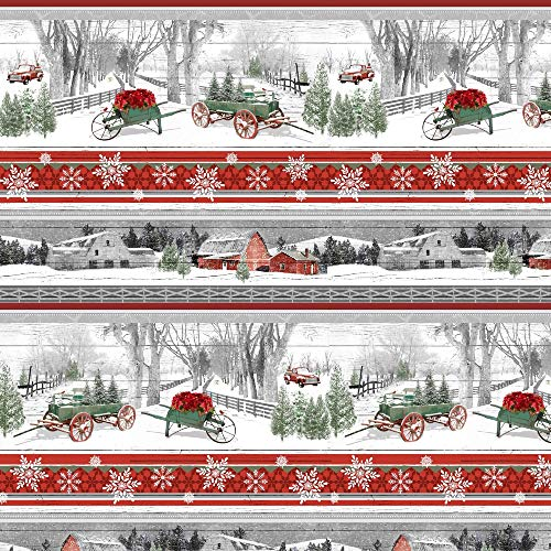 1 Yard Holiday Homestead Christmas Multi Novelty Stripe by Jan Shade Beach from Henry Glass 100% Cotton Quilt Fabric 1615-089