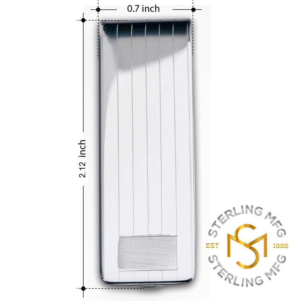 Sterling Silver .925 Solid Striped Design Engravable Money Clip. Designed and Made In Italy. By Sterling Manufacturers by Sterling Manufacturers (Image #2)