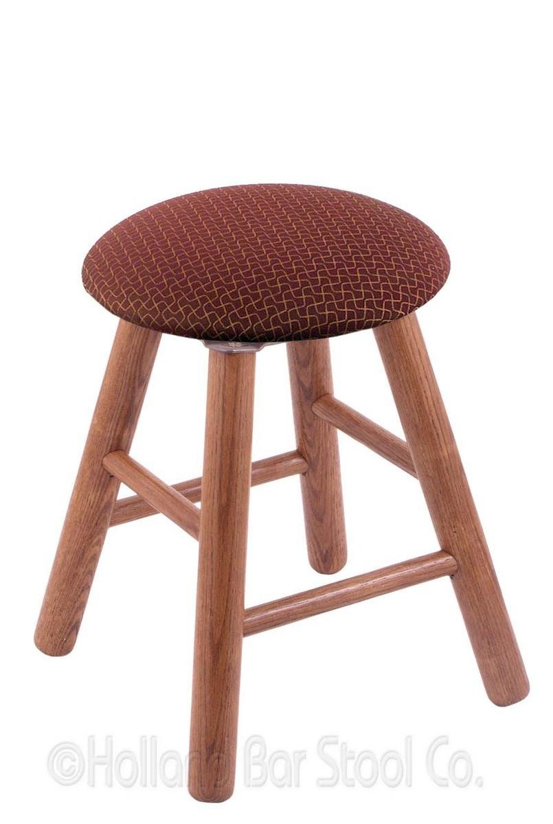 Oak Vanity Stool in Medium Finish with Axis Paprika Seat