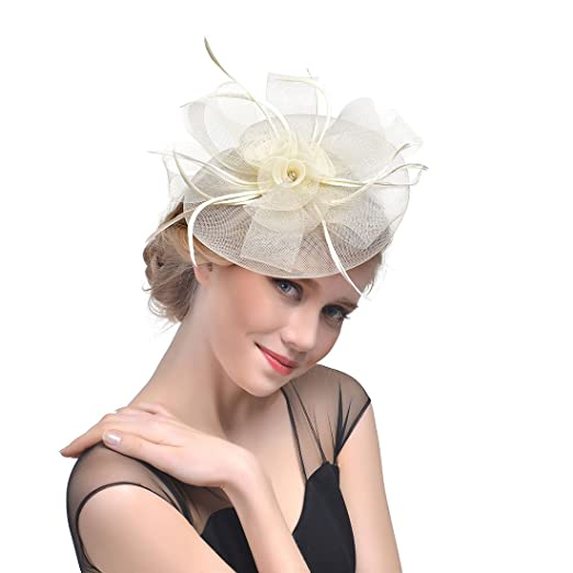 bbf8f6a760f Customized Style Hat Bride Headdress Feather Hair Decoration Banquet Head  Flower Hairpin Hair Accessories (Beige