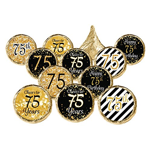 DISTINCTIVS Black and Gold 75th Birthday Party Favor Stickers, 324 Count