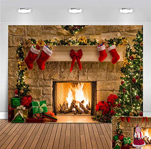 Winter Xmas Themed Photography Backdrop Christmas Tree Socks Gifts Fireplace Photo Background Birthday Decorations Vinyl Party Banner Photo Booths Studio Props 5x3ft Holiday Supplies (Background Winter Christmas)