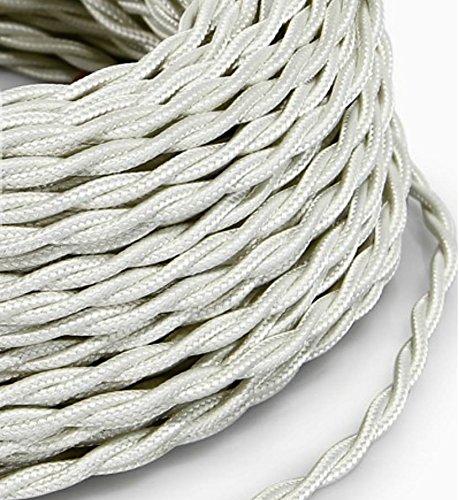 Cable el/éctrico trenzado de estilo vintage etc revestido con tejido de color blanco l/ámparas de mesa Secci/ón: 2/x 0,75 mm l/ámparas de pie MeToo Design Producto fabricado en Ita Ideal para lamparas de ara/ña