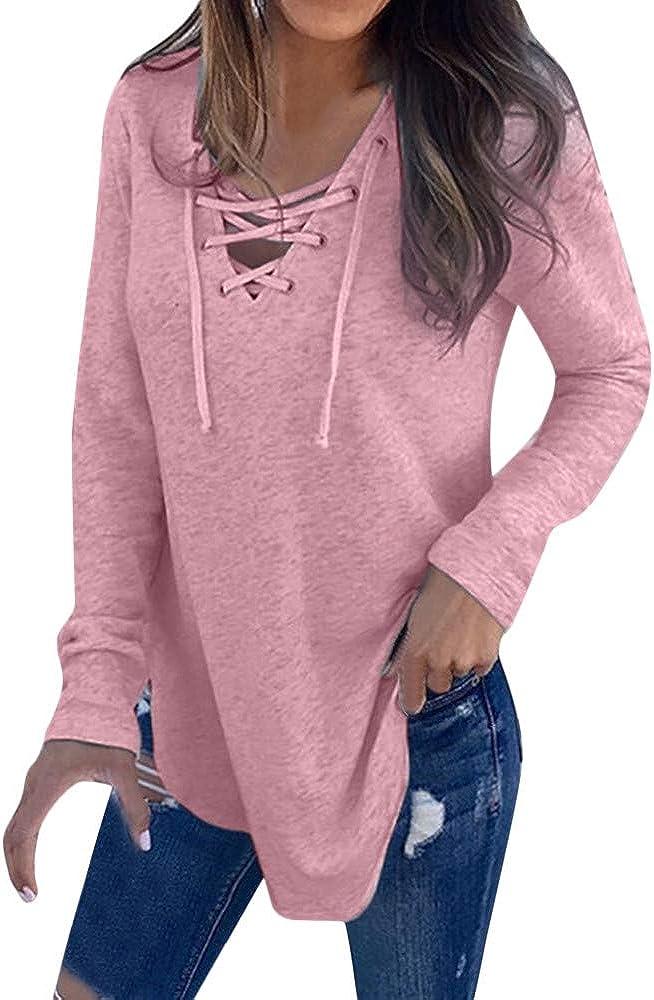 Camiseta de Mujer,Manga Larga Elegante Color sólido Blusa y Camisa Cuello en v Basica Camiseta Moda Suelto Verano Primavera Tops Casual Fiesta T-Shirt Original vpass