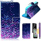 Nccypo Slim PU Leather Magnet Wallet Case with Stylus, Screen Protector and Cleaning Cloth for Apple iPhone 4/4S - Purple Blue Spots