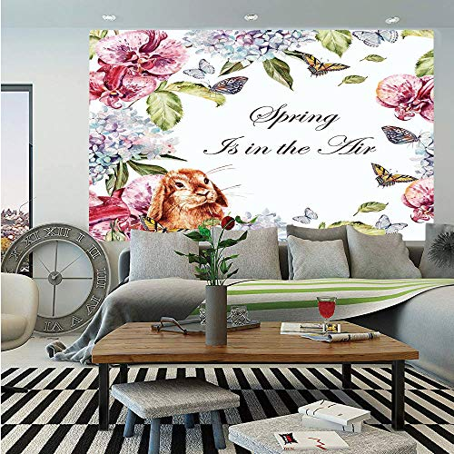 Spring Removable Wall Mural,Hyacintha Flowers Rabbits Orchid Butterfly Leaves Botany Bouquet Watercolor Art,Self-Adhesive Large Wallpaper for Home Decor 66x96 inches,Multicolor ()