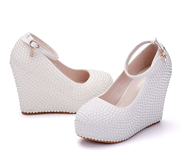 3386c56214f Minishion Womens Hidden High Platform Pearl Beading Wedge Heel Wedding  Evening Shoes  Amazon.ca  Shoes   Handbags