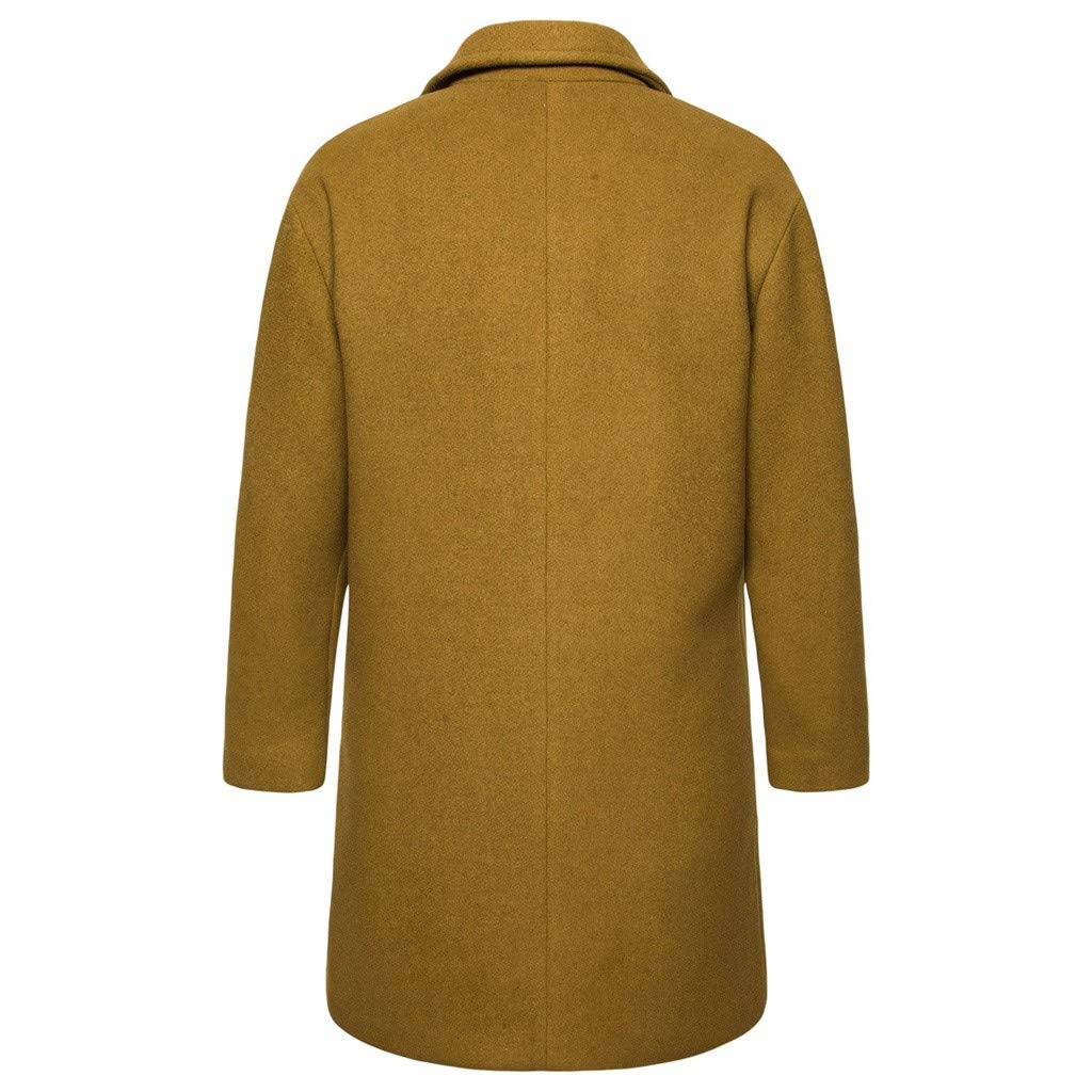 HebeTop Tops Jacket for Men Overcoat Warm Windbreaker Outwear Slim Long Trench Buttons Coat