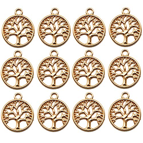 JETEHO 100pcs 20mm Tree of Life Charms Pendents - Gold Family Tree of Life Charms for Making Bracelet and -