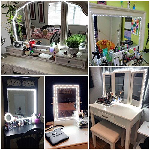 Led Vanity Mirror Lights Kit, 13ft/4M 240 LED Vanity Mirror with Lights - Vanity Lights for Makeup Table Set with Dimmer and Power Supply, Mirror not Included by zizwe (Image #4)