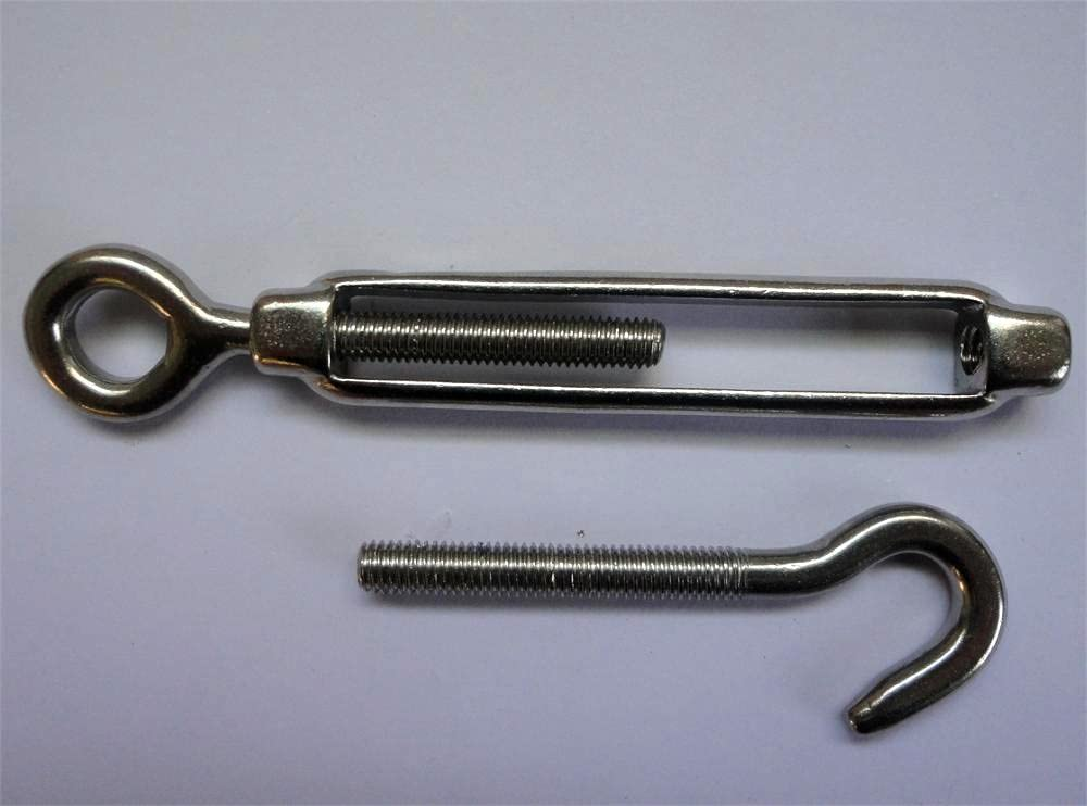 Jingyi Stainless steel 1//2 Inch Hook and Eye Marine Turnbuckle,Silver Tone