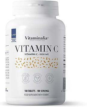Vitamina C 1000mg de Vitaminalia | Dosis Alta de vitamina C Pura De Ácido Ascórbico sin Sabor para 6 Meses | Vitaminas para el cansancio | Vegano, Sin ...
