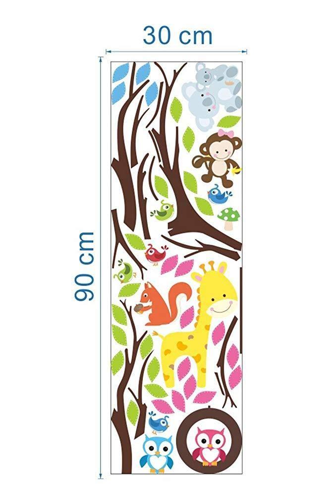 TrifyCore Pared Pegatinas de Dibujos Animados Mono b/úhos /árbol de la Selva Tema de los Animales Arte de la Pared Sticker Adhesivos murales Decoraci/ón para Nursery