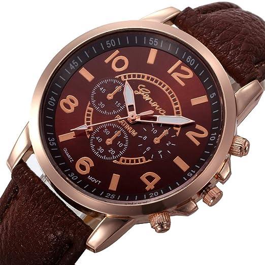 Relojes De Mujer Damas Casuales Damas De Cuero De Imitación De Cuarzo Analógico Reloj De Pulsera BW: Amazon.es: Relojes
