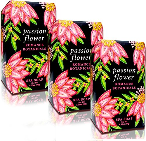 Spa Passion - Greenwich Bay PASSION FLOWER Spa Soap, Enriched with Shea Butter, Cocoa Butter and Virgin Olive Oil, No Parabens, No Sulfates 6.35 Oz. (3 Pack)
