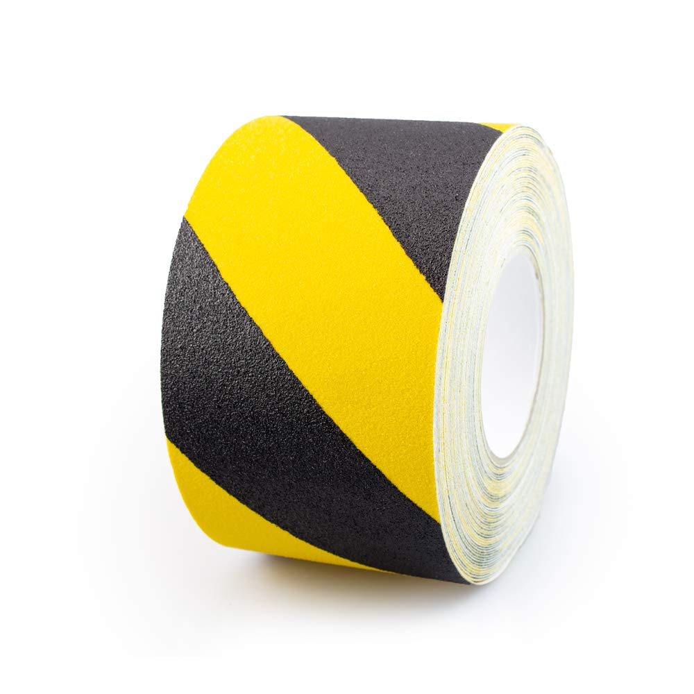 NAC INDUSTRIAL Anti Slip Tape - NAC SAFETY STANDARD - Strong Adhesive Non Slip Grip for Safety, Stairs, Steps, Ladders Indoor/Outdoor - Various Sizes & Colours (4'' x 60 feet, Hazard)
