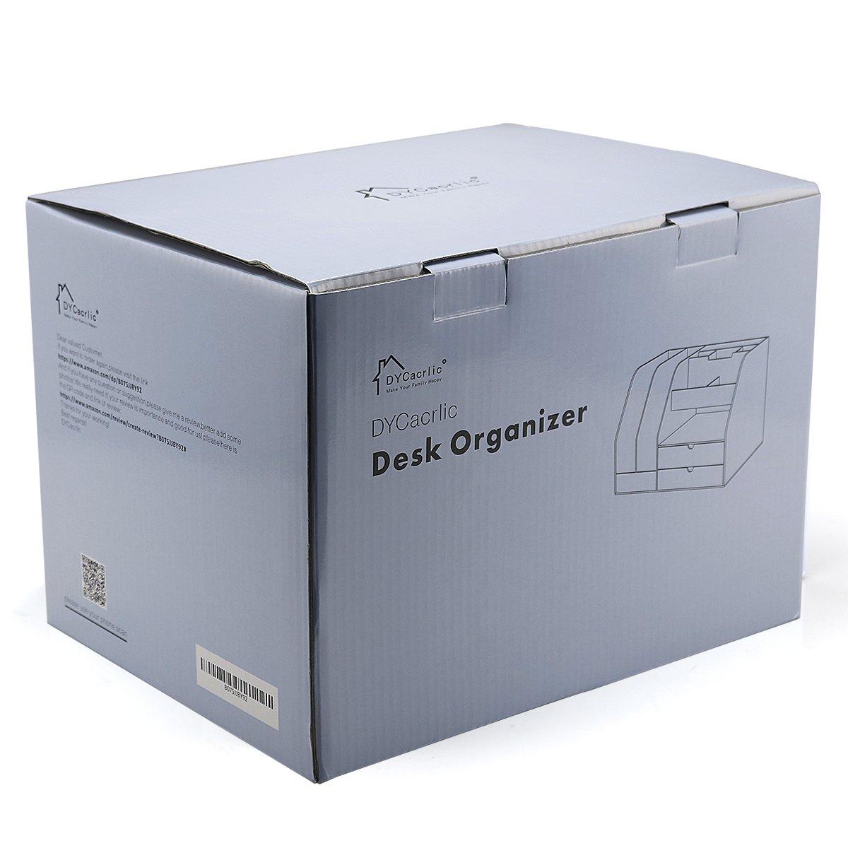 DYCacrlic Desktop Organizer for Home Office Supplies Files Pen and Desk Accessories Organization,Clear Big Desktop Organizer Box 2 set Drawers,Office Desktop Organizer Stand Holder Shelf,Cute,Supply