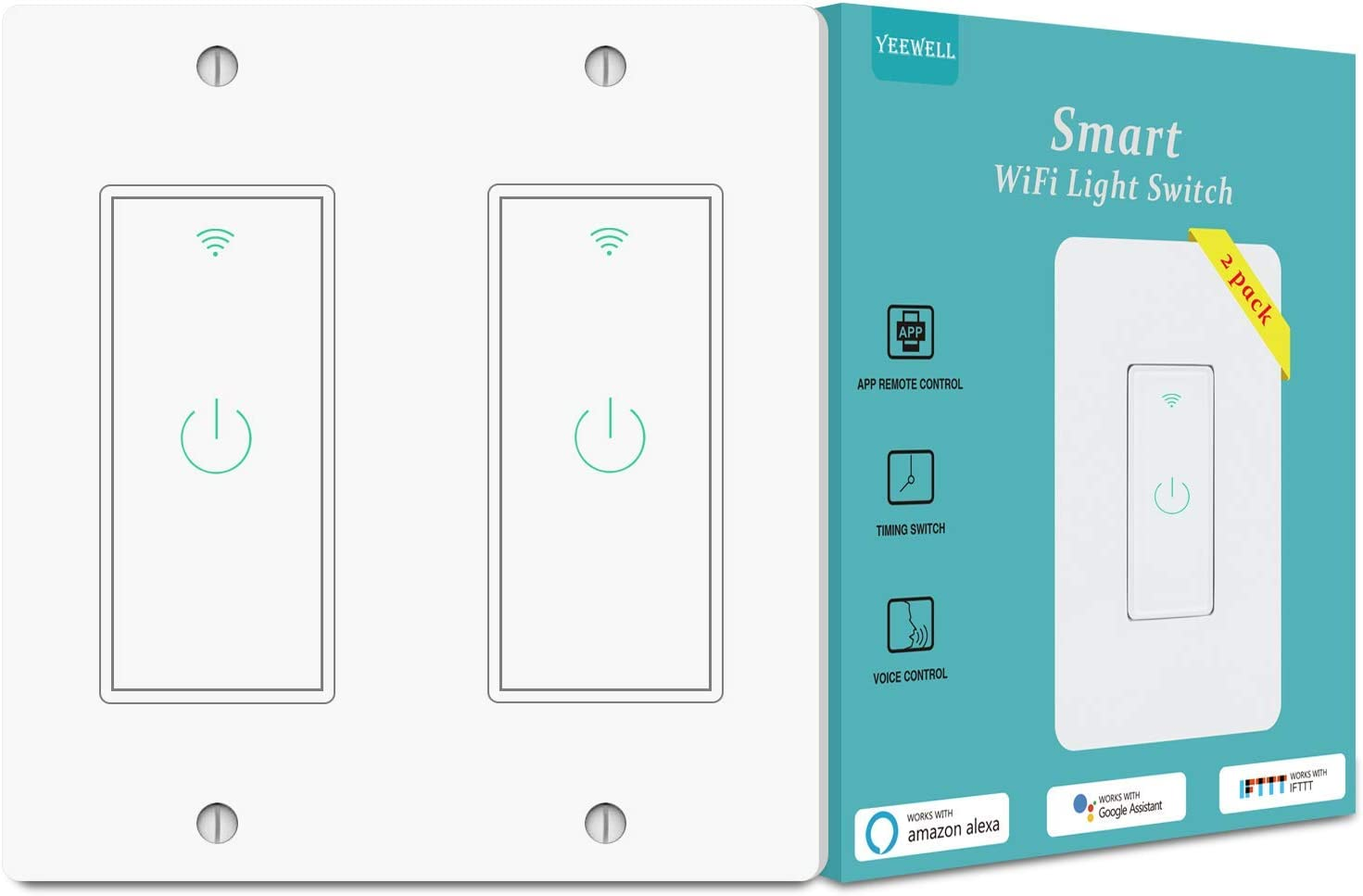 Smart Light Switch, Yeewell WiFi Light Switch with Timer and Remote Control, Works with Alexa, Google home and IFTTT, Neutral Wire Needed, Single Pole, No Hub Required, 2 gang