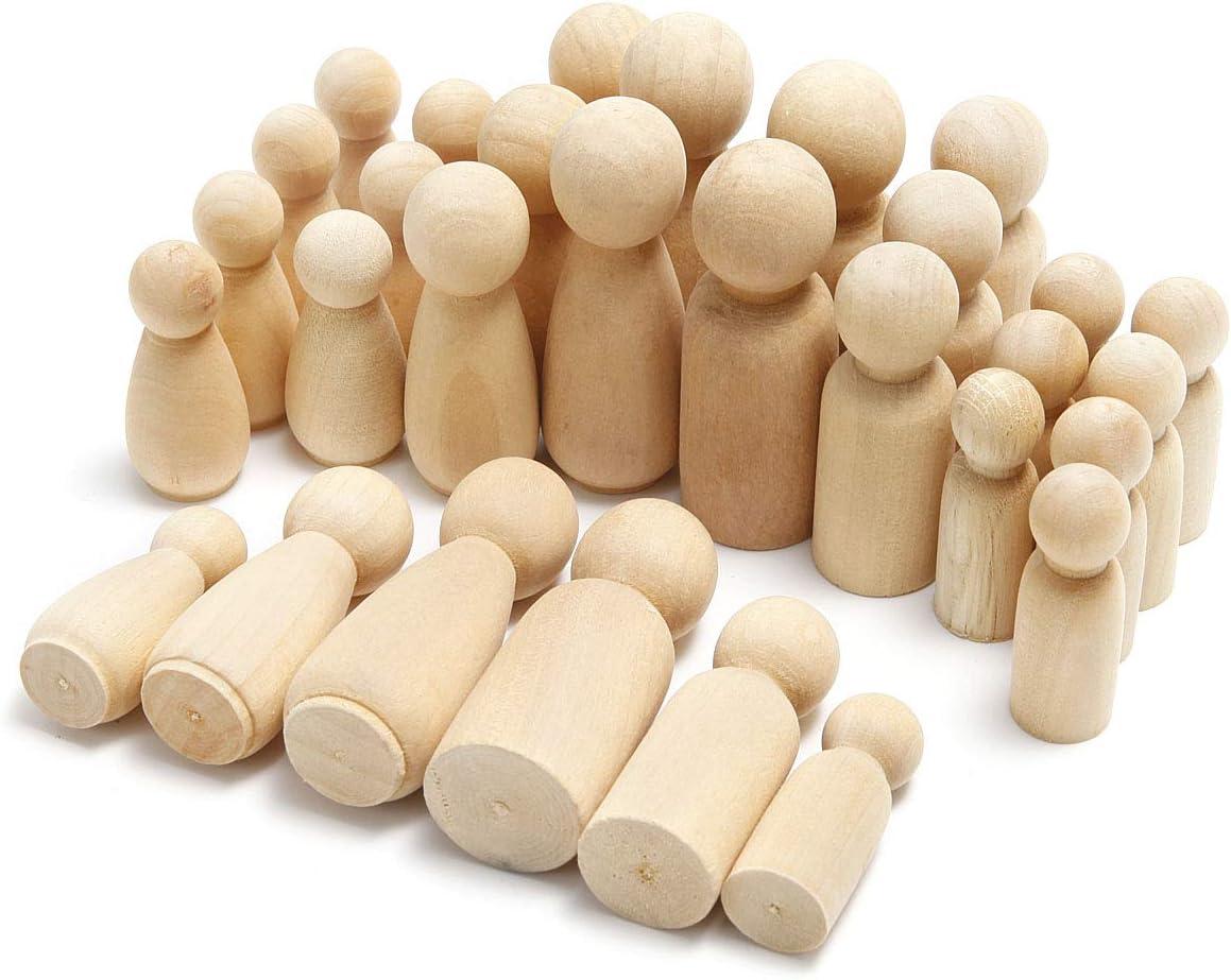 Anladia 20 St/ück Figurenkegel Unvollendete Holzfiguren Spielfiguren zum DIY Holzfiguren