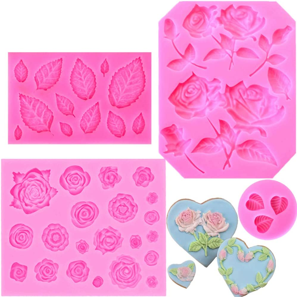 JOERSH 4 Pieces Silicone Rose Molds and Leaf Molds - Fondant Cake Decorating Molds for Chocolate Cake/Cupcake Topper Biscuit Dessert Decor