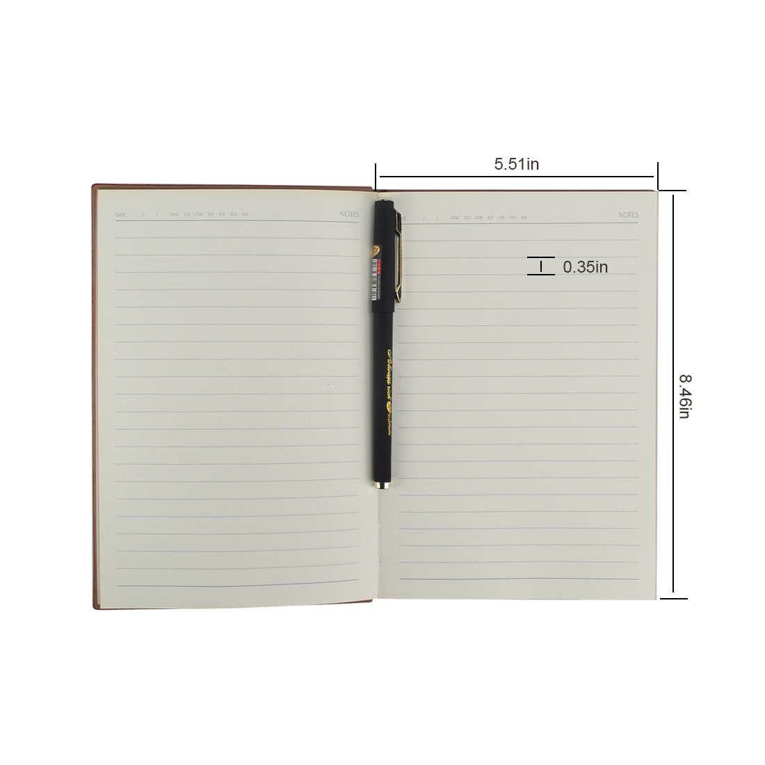 eBerry® Leather Notebook/Record Book/Lined Memo,Life&Success Planner,Classic Dark Coffee First Page,Pen Holder,Ribbon Bookmark,240 Lined Pages,6x8 Inches,0.5mm Gel Pen Included,Black(58-25) by izBuy (Image #3)