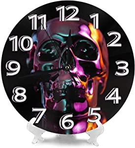 Lplpol Vintage Wood Hanging Clock Wall Clock Oil Skull Clock 15 Inch Battery Operated Clocks Non Ticking Decorative Clock for Living Room Bedroom Garage Kitchen