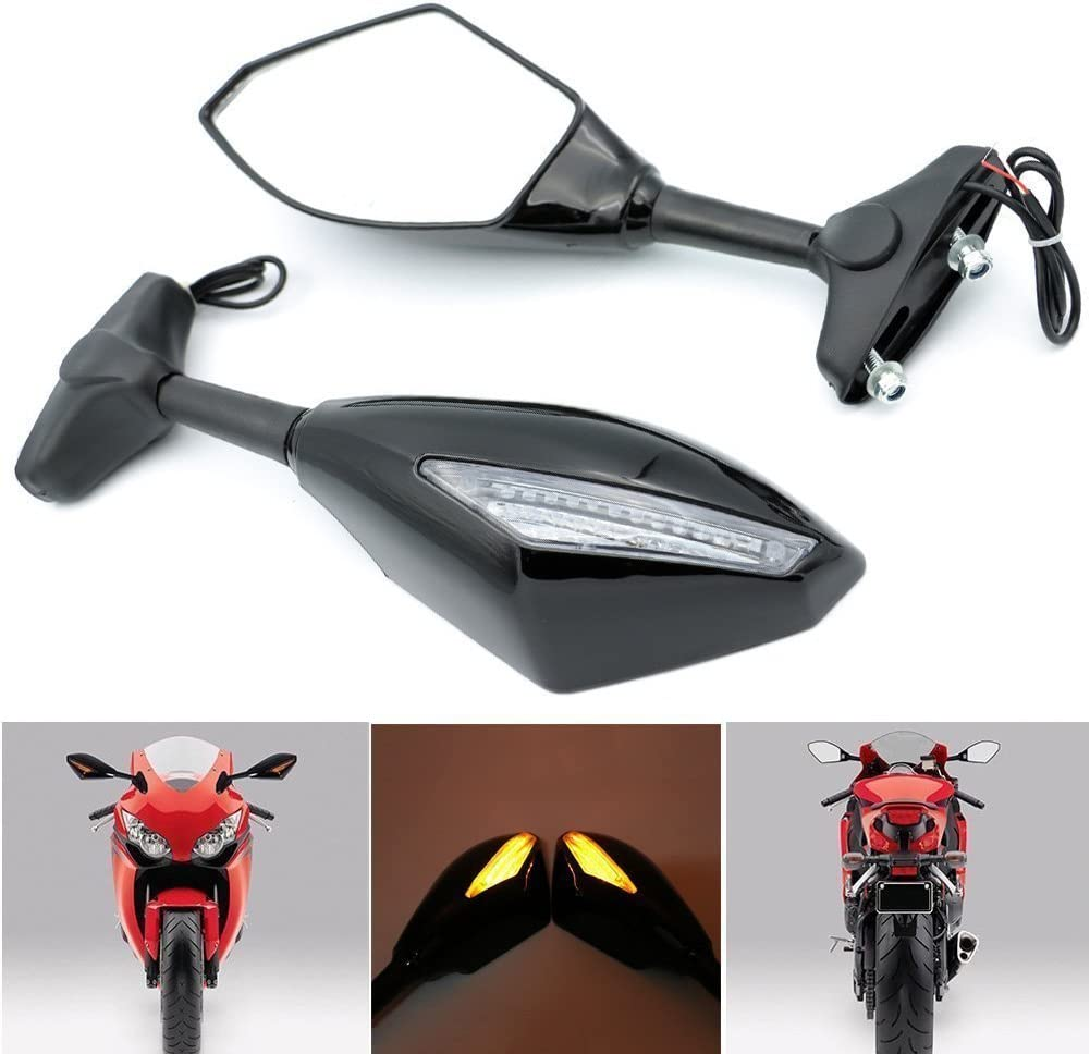Alpha Rider Motorcycle Turn Signal LED Blinker Integrated Sports Racing Mirrors Rearview Side Mirror for Yamaha YZF R6 1999-2009 R6S 2006-2009 R1 1998-2009
