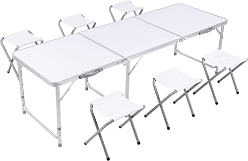 GARTIO 6FT Aluminum Folding Table, Tri-Fold, Height Adjustable Portable Lightweight Camping Beach Dining Utility Desk, with Handles and 6 Chairs, for Indoor Outdoor Garden Picnic Party White