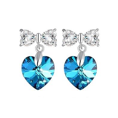 841e5ea02 Ocean Blue Earring Heart Shape Stud Earring 925 Sterling Silver Earrings  with Swarovski Crystals Woman Stud