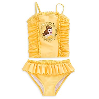 27cc33162b8a3 Amazon.com  Disney Belle Swimsuit for Girls - 2-Piece Yellow  Clothing