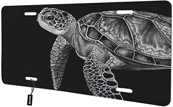 Beabes Sea Turtle Front License Plate Cover,Animal Wildlife Sea Life Black Decorative License Plates for Car,Aluminum Novelty Auto Car Tag Vanity Plates Gift for Men Women 6x12 Inch