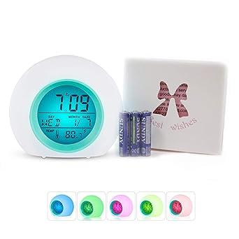 Despertador LED Alarma múltiple Despertador digital Sunrise con luz nocturna multicolor para adultos, niños,