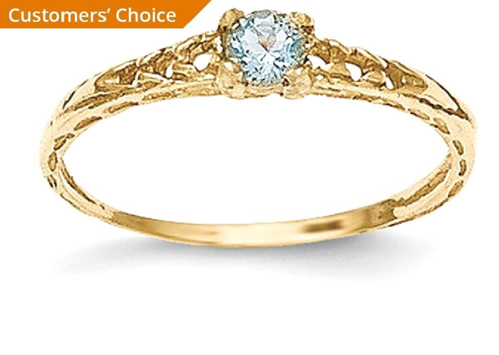 ICE CARATS 14k Yellow Gold 3mm Blue Aquamarine Birthstone Baby Band Ring Size 3.00 March Fine Jewelry Gift For Women Heart by ICE CARATS (Image #2)