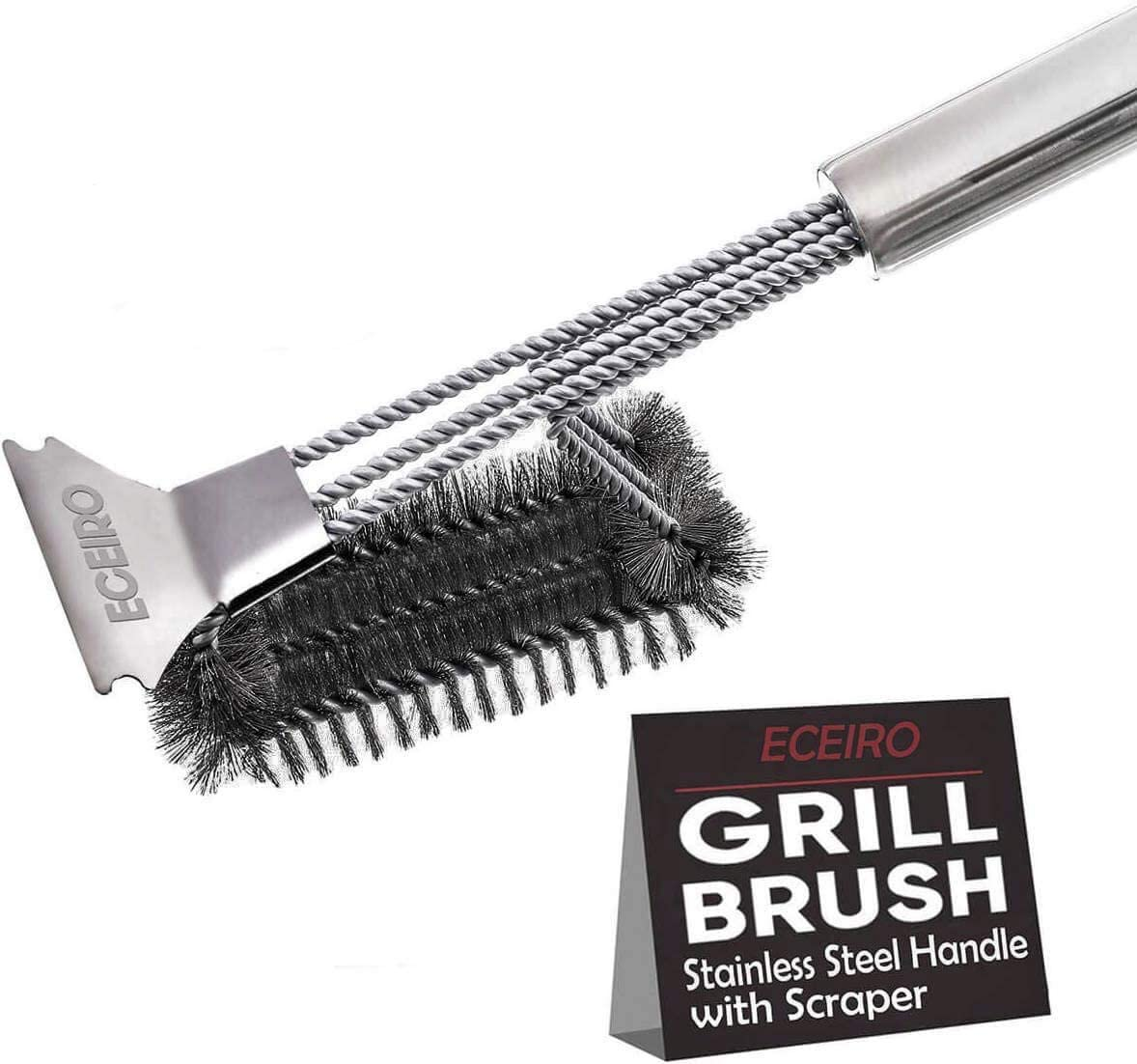 Grill Cleaner Brush and Scraper by Kitchen Perfection Stainless Steel Bristles BBQ Grill Brush - Best Heavy Duty Grill Cleaning Brush Compatible for Weber Grill Brush and All Grill Types.
