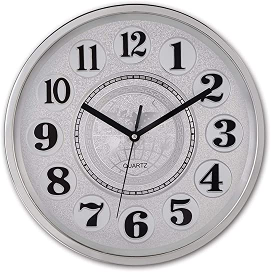 Smarten Arts Graceful Silent Wall Clock Non-Ticking 12 Inches Quartz Battery Operated Decor Wall Clock Silver Large Number Easy to Ready for Home School Hotel Office