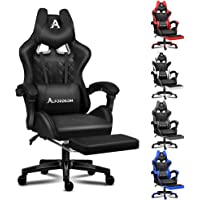 ALFORDSON Black Gaming Chair Racing Style with Extra Large Lumbar Cushion, U-Shape Headrest and Footrest High Back…