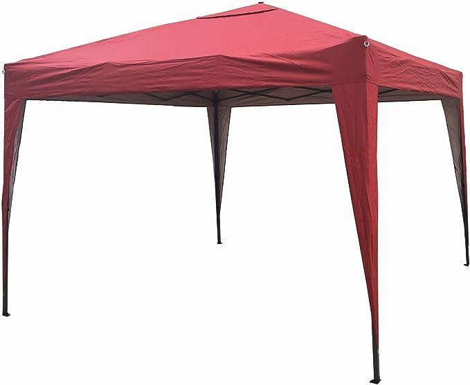 MCC® Gazebo Plegable Impermeable del Gazebo 3x3m, Tienda del pabellón con la Capa Protectora de Plata [NS] (Color Beige) (Rojo): Amazon.es: Jardín